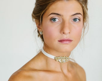 Wedding Choker Necklace | Gold, Pearl, Crystal Necklace for Bride | Lace, Ribbon Choker Collar | Bridal Statement Necklace | FONTAINEBLEAU
