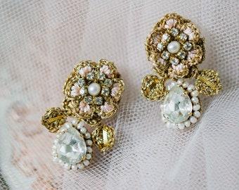 Wedding Earrings Pearl & Crystal | Bridal Earrings Drop | Pink, Gold Rose Flower Stud Earrings for Brides | Pearl Wedding Jewelry | D'ARCY
