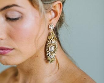 Long Pearl, Crystal Wedding Earrings | Gold Bridal Oval Drop Chandelier Earrings | Floral Statement Earrings for Bride | FONTAINEBLEAU