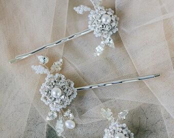 Crystal Flower Wedding Hair Pins | Pearl Wedding Hair Accessories | Lace Wedding Hair Adornment | Vintage Style Bridal Bobby Pins | Roma