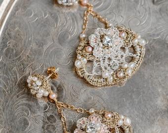 Chandelier Wedding Earrings | Gold Bridal Earrings | Blush Earrings | Pearl Wedding Earrings | Pearl Bridal Earrings | Statement Earrings