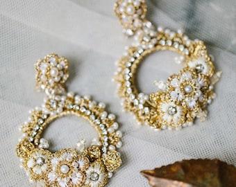 Gold, Pearl, Crystal Wedding Earrings | Large Lace Hoop Bridal Statement Earrings | Vintage Floral Chandelier Stud Earrings | TUILERIES