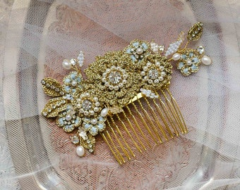 Gold Floral Wedding Comb | Lace Bridal Hair Adornment | Wedding Headpiece | Something Blue Bridal Hair Accessory | HYACINTHE