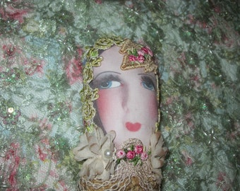 Tea Stained Vintage Doll Face Image Shelf Sitter