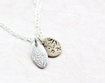 fine silver and bronze pendants on sterling silver chain set, hand crafted necklace, duo