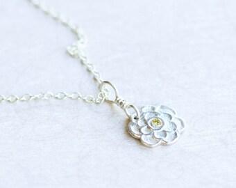 Silver flower pendant, fine & sterling silver jewellery, nature inspired, fleur
