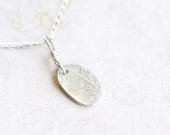 silver nature pendant, fine and sterling silver necklace, hand crafted jewellery, nysia