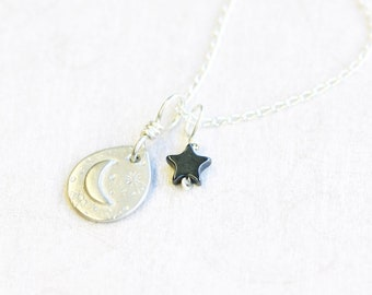 fine silver and hematite pendants on sterling silver chain set, hand crafted necklace, galaxy