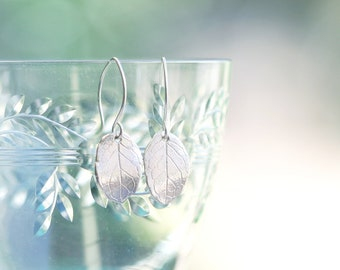 Silver leaf earrings, fine & sterling silver, nature inspired, menthe