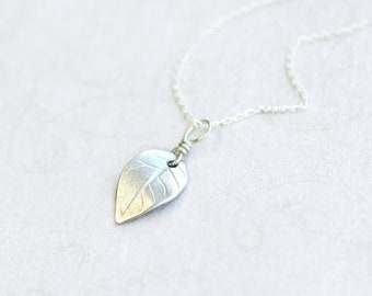 silver leaf pendant, fine and sterling silver jewellery, nature inspired