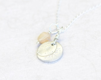 fine silver and moonstone pendants on sterling silver chain set, hand crafted necklace, la lune
