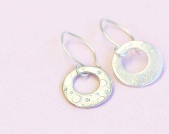 silver hoop dangle earrings, fine and sterling silver, luna