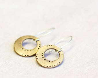 bronze hoop dangle earrings, bronze and sterling silver, glyna