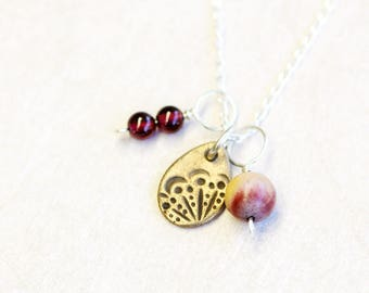 triple pendant and chain set, bronze, garnet and jasper on sterling silver, gaia