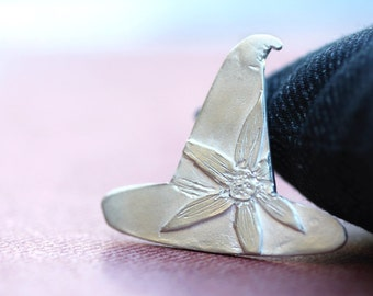 florabella, fine silver pendant, witches hat, pmc, precious metal clay