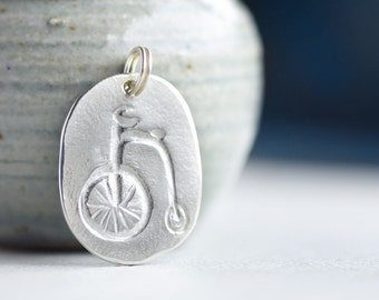 bicycle pendant, penny farthing pendant, silver jewellery,  fine silver, penny