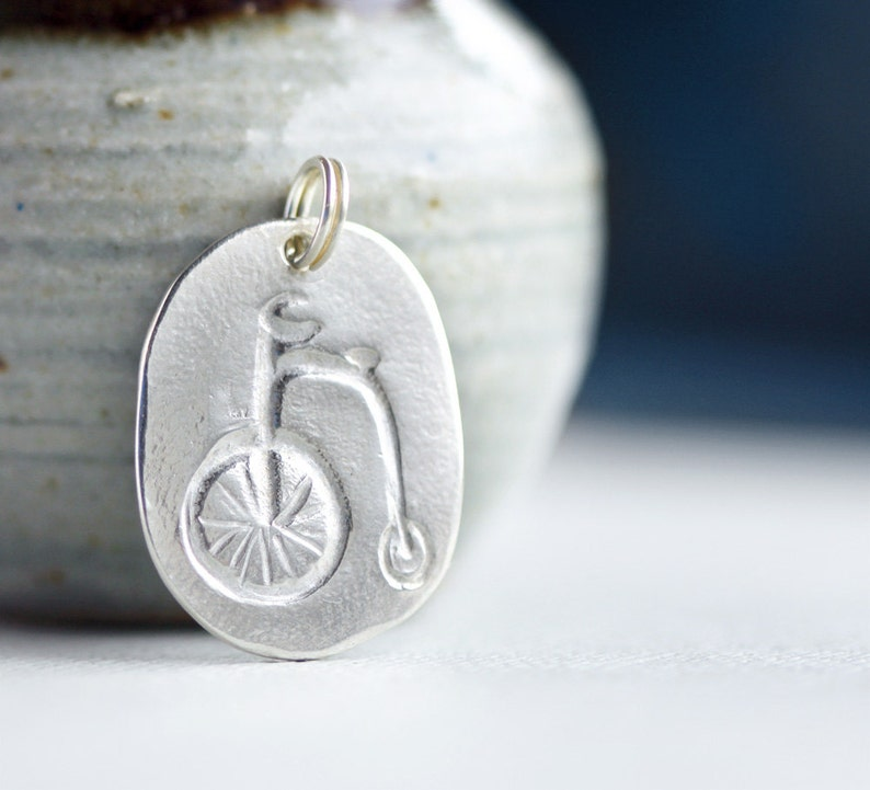 bicycle pendant penny farthing pendant silver jewellery image 0
