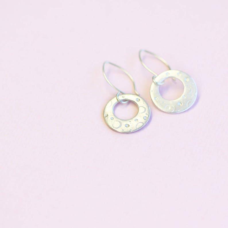silver hoop dangle earrings fine and sterling silver luna image 0