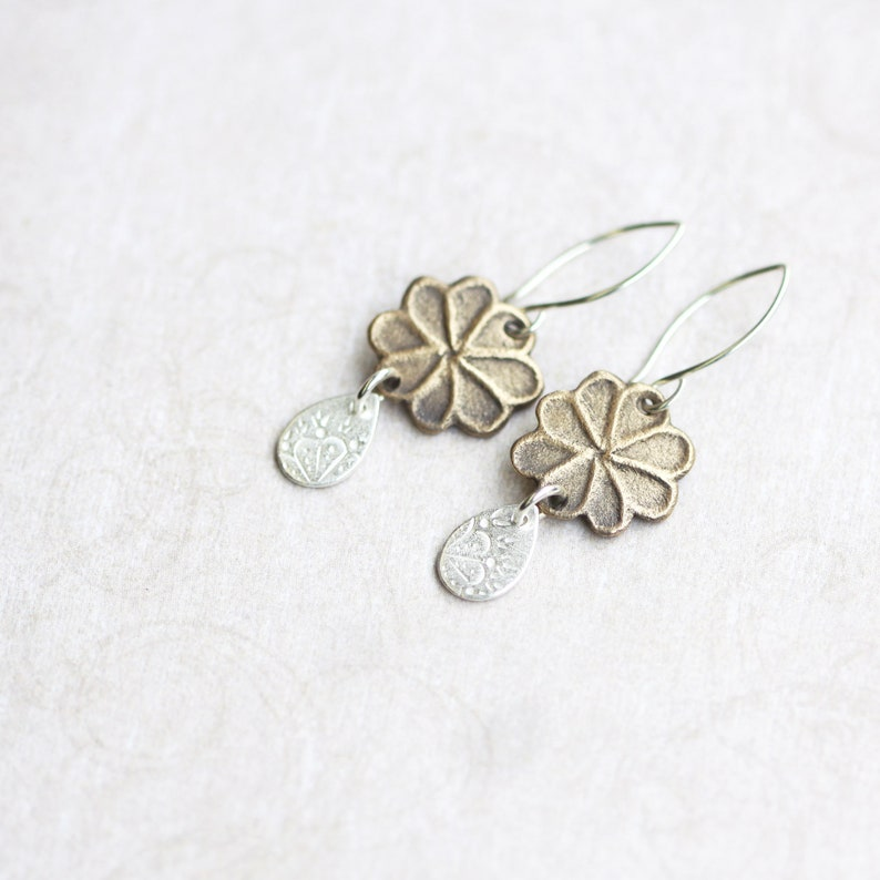 silver & bronze floral earrings mixed metal jewellery flora image 0