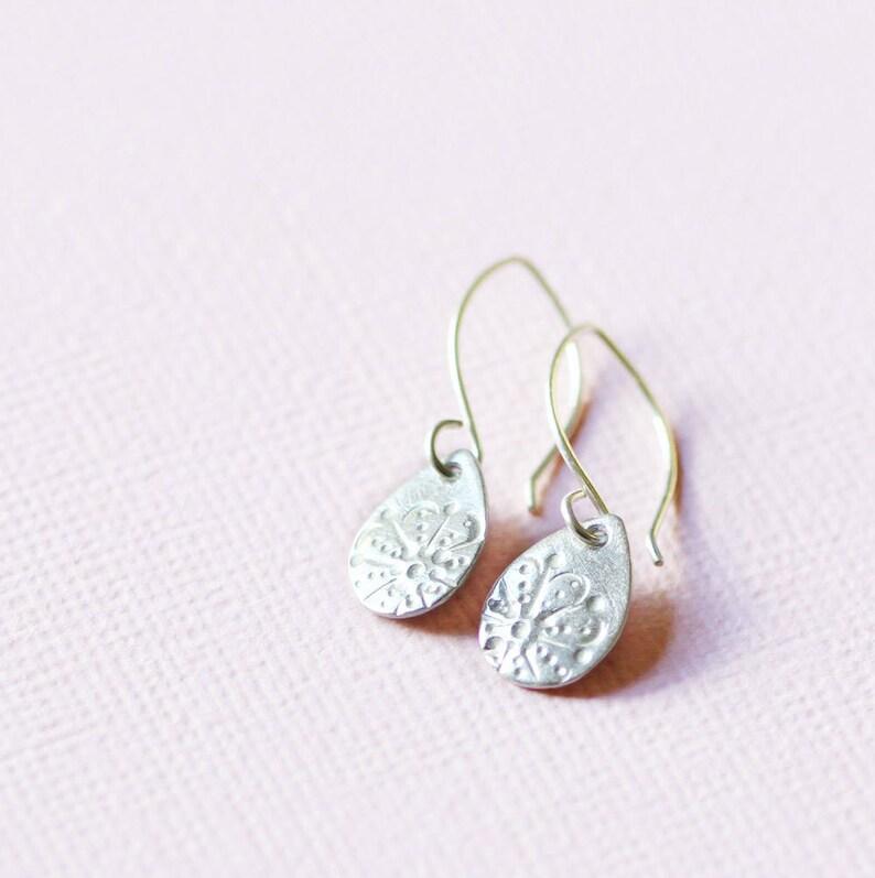 silver teardrop earrings sterling and fine silver aya image 0