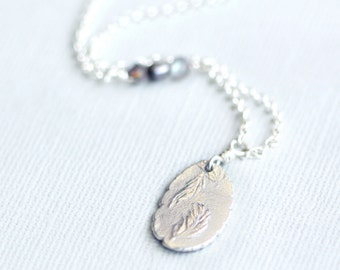 silver feather necklace, fine silver pendant, sterling silver, drift