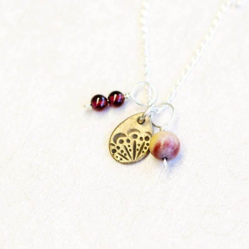 triple pendant and chain set bronze garnet and jasper on image 0