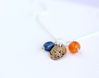 triple pendant and chain set, bronze, carnelian and dumortierite on sterling silver chain, wisp