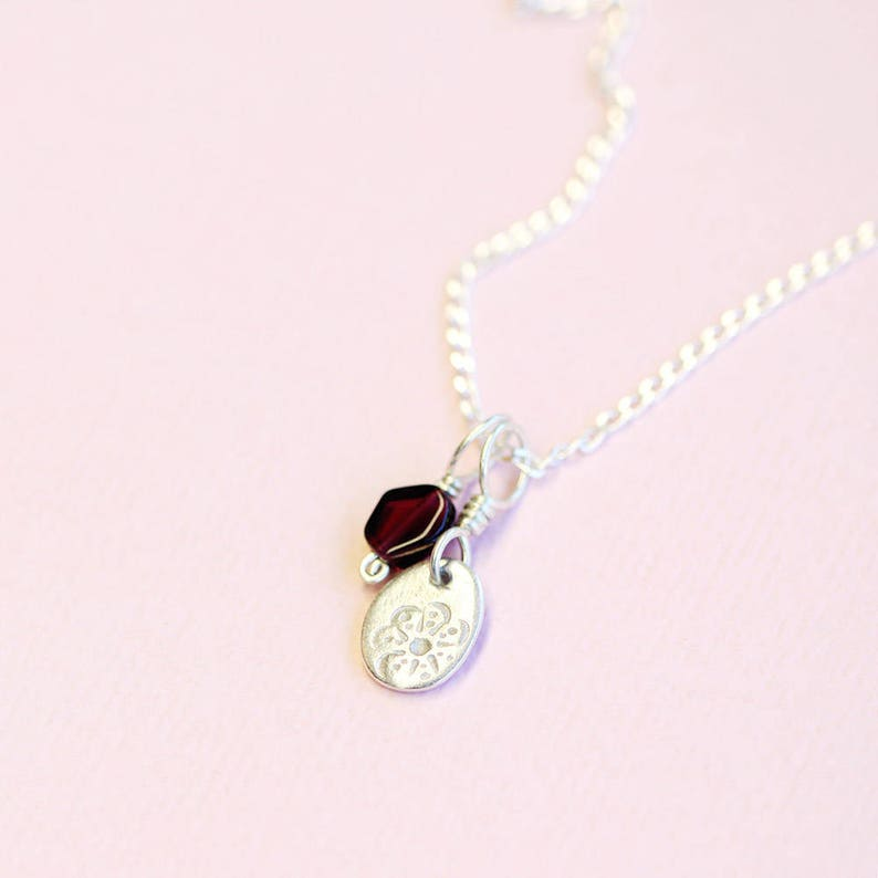 fine silver and garnet pendants on sterling silver chain set image 0