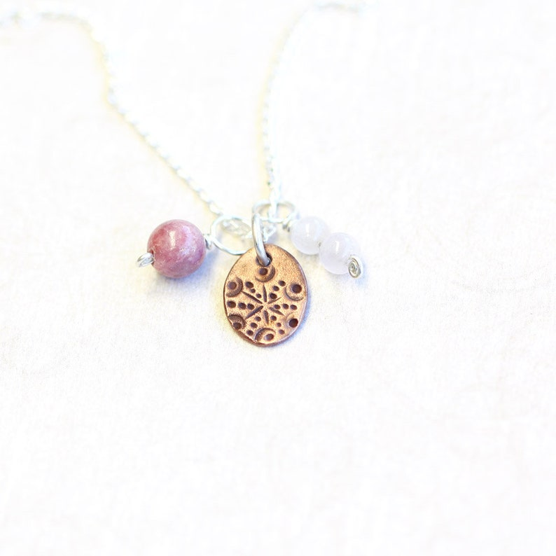 triple pendant and chain set copper rhodonite and rose image 0