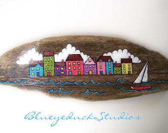 Isle of Skye, Tobermory, Seaside Village, Sailboat, Hand painted, Driftwood, Original, Folk Art, painting, Beach, Wood, Scottish Coast