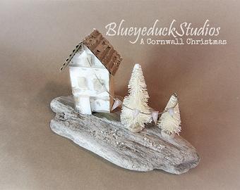 Driftwood, Original, Folk Art, Beach, Wood, Scottish Coast, English Cottage, weathered tree miniature village, Cornwall England