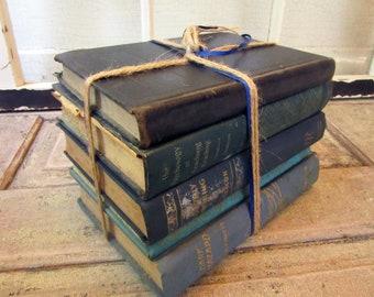 5 Antique School Book Collection, Bookshelf Decoration, Shabby Farmhouse, stack décor, Bundles by Color, Blue, Teaching. Teacher Gift