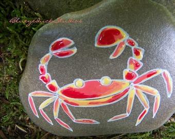 Enamel, like Cloisonné, Folk Art,Original hand painted Beach Rock, crab, handpainted, earth art, reclaimed, inked, stone, seafood, sushi