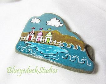 Beach Village Folk Art, Original hand painted Beach Rock, Lake Erie, handpainted, earth art, reclaimed, inked, stone, English Seaside
