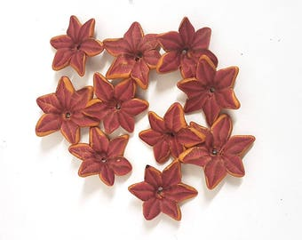 Poinsettia Beads, Red Christmas Flowers, Polymer Clay Beads, 10 Pieces