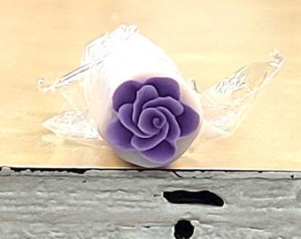 Purple Rose Cane, Polymer Clay Flower, Plum Millefiore Raw Unbaked, Translucent Clay Background