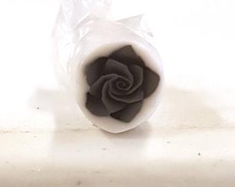 Black Rose Cane, Polymer Clay Flower Cane Raw Fimo Millefiore