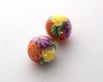 Polymer Clay Beads, Bead Pair, Hot Pink Flower Beads, Yellow Mums, Summer Orange Beads, 2 Pieces