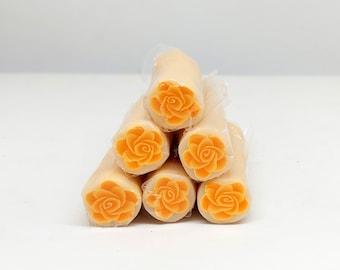 Orange Rose Polymer Clay Cane, Raw Unbaked Cane
