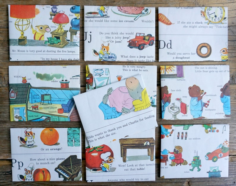 Richard Scarry recycled book pages into smaller envelopes