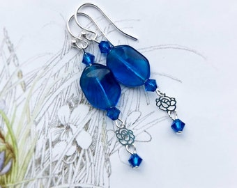 Rich Deep blue Glass Rose Filigree charm faceted crystal bead beaded  Sterling Silver Earrings