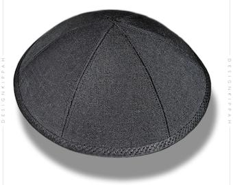 Black linen kippah | Jewish wedding - Bar Mitzvah - Shabbat | Chanukah gift