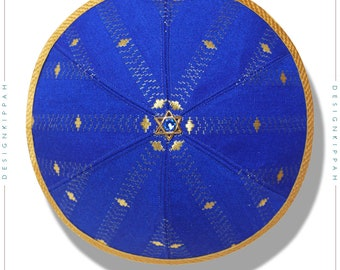 Silk kippah | Blue - gold brocade | Jewish wedding - Bar Mitzvah - Shabbat | Chanukah gift