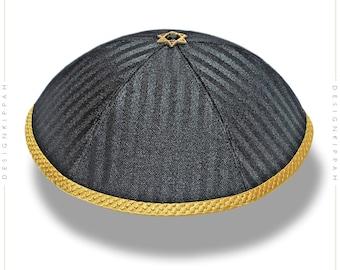 Black - gold kippah | Jewish wedding - Bar Mitzvah - Shabbat | Chanukah gift