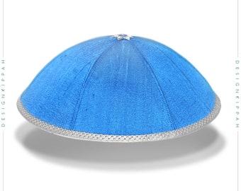 Blue silk yarmulke | Jewish wedding kippah - Bar Mitzvah kippah - Shabbat | Chanukah gift
