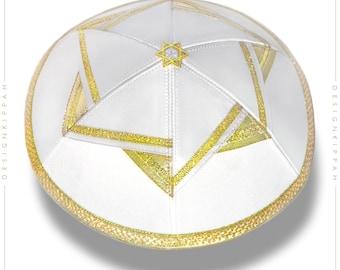 White - gold kippah |  David Star | Jewish wedding, Bar Mitzvah, Shabbat | Chanukah yarmulke