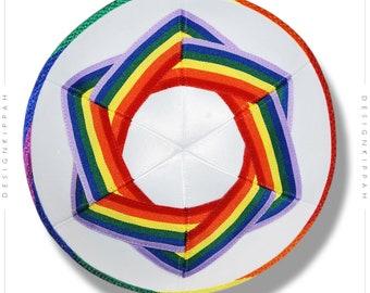 Rainbow David Star kippah | LGBT pride head covering | Modern Judaica