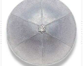 Silver kippah | Jewish wedding - Bar Mitzvah - Shabbat | Chanukah gift