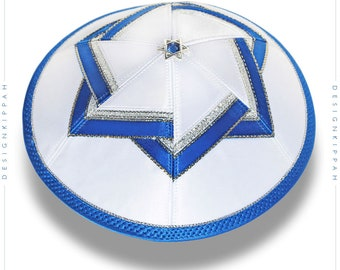 White - blue kippah | David Star yarmulke | Jewish wedding - Bar Mitzvah - Shabbat | Chanukah gift