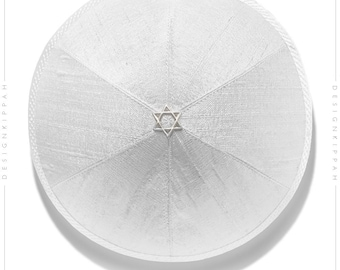 White silk kippah | Jewish wedding - Bar Mitzvah - Shabbat - Yom Kippur | Chanukah gift